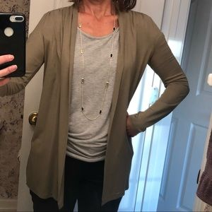 Talbots Collection olive green cardigan